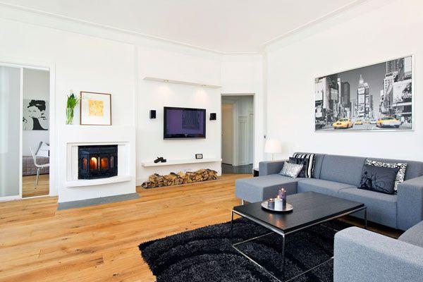 švediškas svetainės kambario dizainas