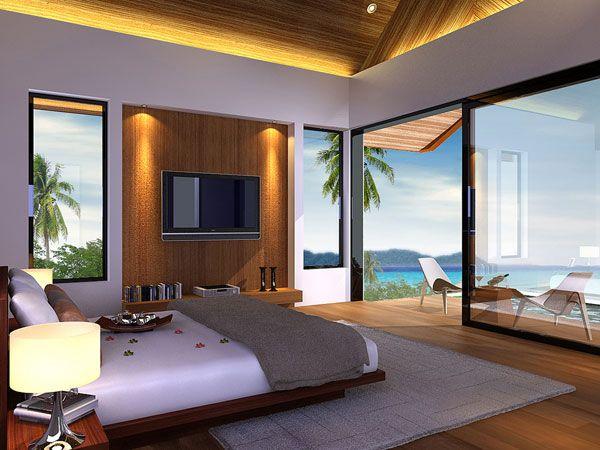 miegamasis su vaizdu į vandenyną