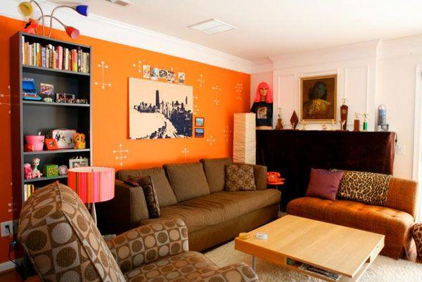 oranžinis gyvenamojo kambario dizainas