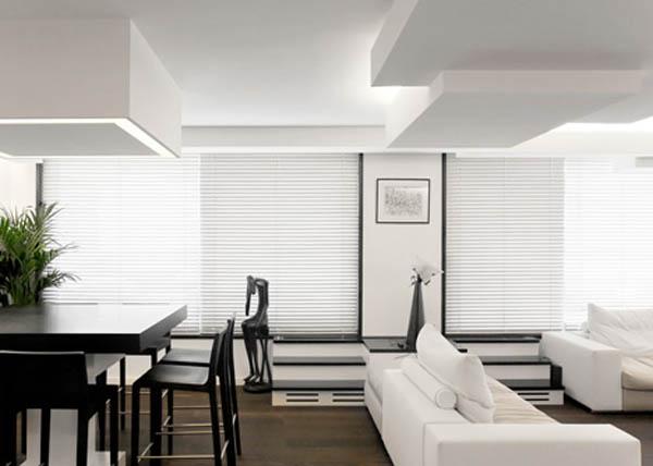 kubistinės lubos svetainės interjere