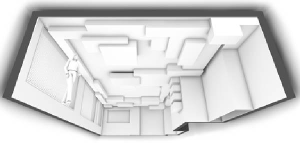 svetainės, valgomojo lubų, sienų erdvinis vaizdas