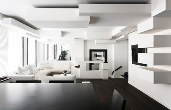 Kubistinis interjeras bute