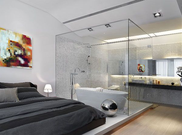 vonia stikliniame tūryje miegamajame
