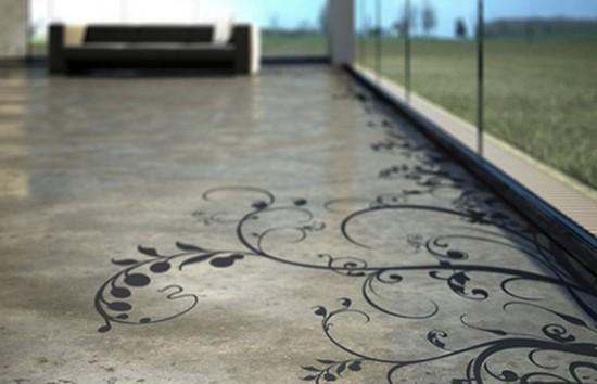 Piešinio ant betoninių grindų fragmentas