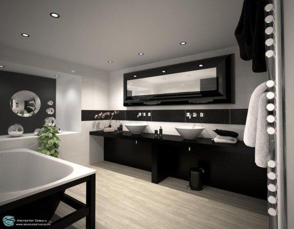 Juodos spalvos akcentai vonios interjere