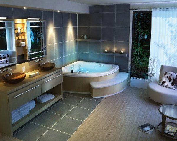 Kampinė vonia dideliame vonios kambaryje