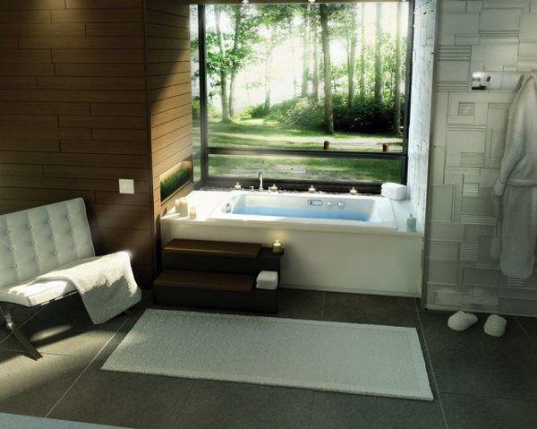 vonios interjeras su miško vaizdu