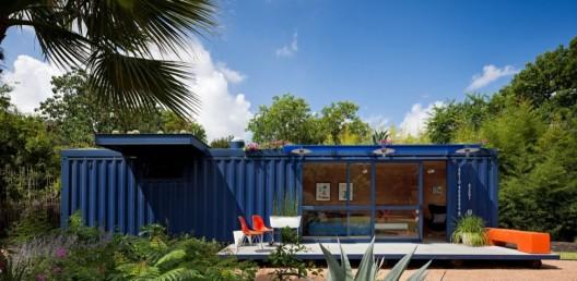 namas konteineris pagrindinis fasadas