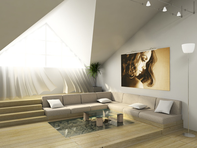 Baltas svetainės interjeras palėpėje
