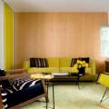 šviesus medis geltonai žalsva spalva svetainės interjere
