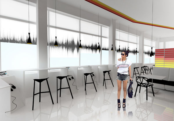 Muzikos kavine 1 (Vaizdas i zona, kurioje kavines klientai gali muzikos klausytis atskirai nuo visu kavineje esanciu klientu)