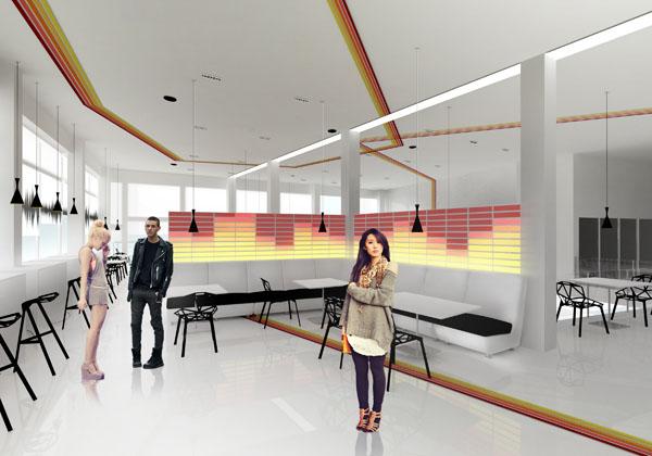 Muzikos kavine 2 (Muzikos tematika atsispindi sviecianciuose ekvalaizeriuose, per grindis, sienas ir lubas besidriekiancioje penklineje ir garso bangas vaizduojanciuose motyvuose)