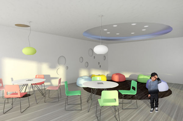 Vaiku kavine 3 (Vaizdas i vaiku zaidimo zona, kuri savaitgaliais virsta burbulu putejo pasirodymu scena)