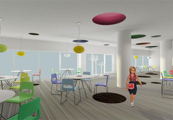 Vaiku kavine 4 (Sviesiam interjerui aptakios formos bei didziule spalvu gama, panaudota apsvietime bei balduose, suteikia daugiau zaismingumo)