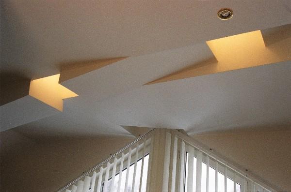 Gipso kartono lubų dizaino fragmentas