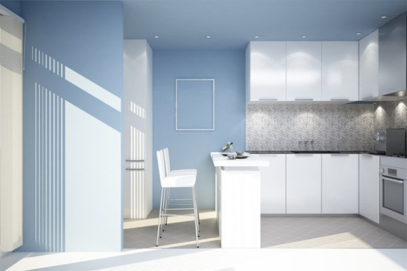 mėlyna spalva virtuvės interjere 7