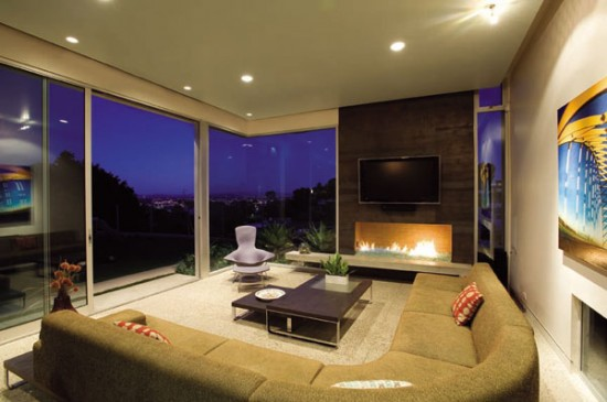 svetainės interjeras, židinys, dvi stiklo sienos
