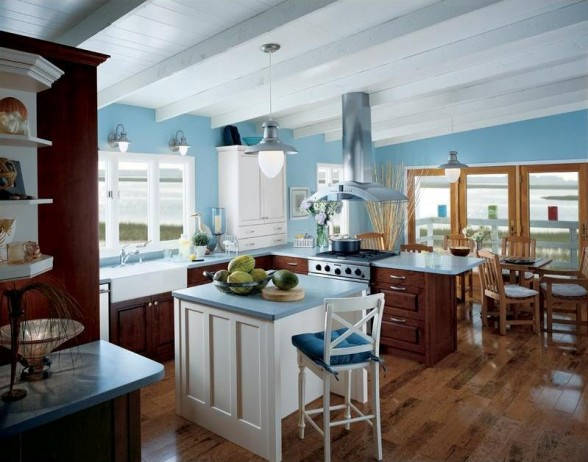 mėlyna spalva virtuvės interjere 5