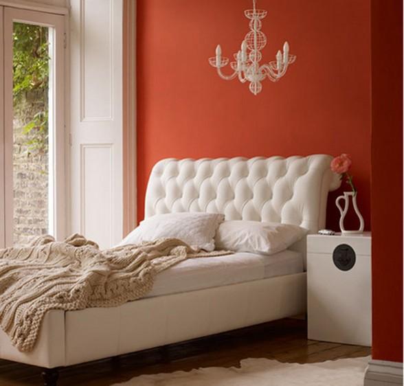 balta lova, rausva siena