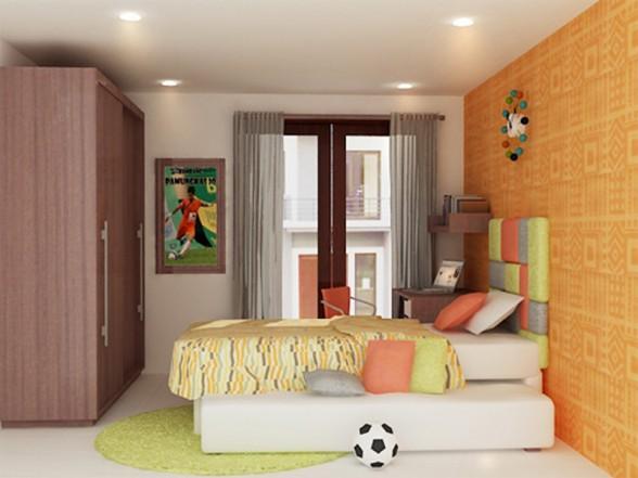 oranžinė spalva miegamojo interjere