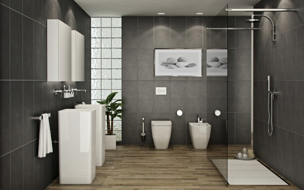 Pilko akmnens masės plytelės, medinės grindys vonios interjere
