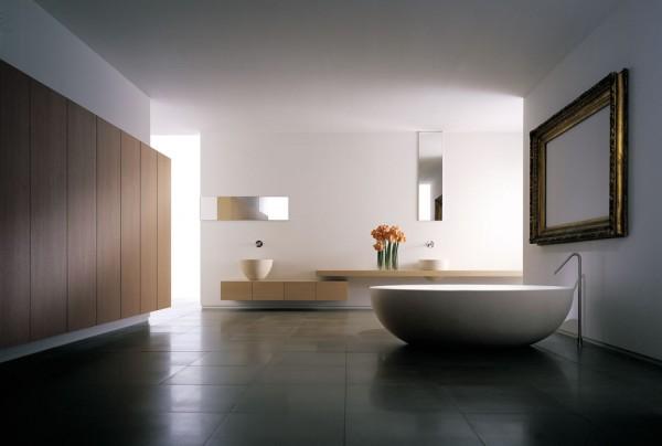 veidrodis masyviuose rėmuose vonios interjere