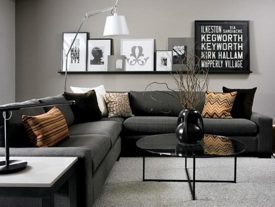 Rudos spalvos pagalvėlės juodai baltame svetainės interjere