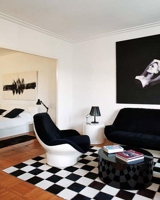 miegamojo interjeras, balta juoda