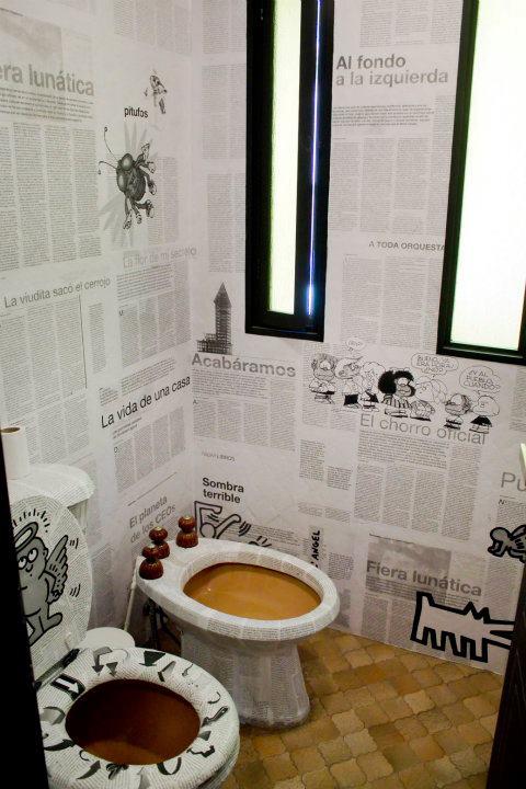 wc interjeras, laikraščiai
