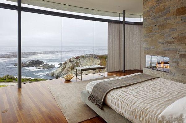 miegamojo interjeras, vaizdas už lango