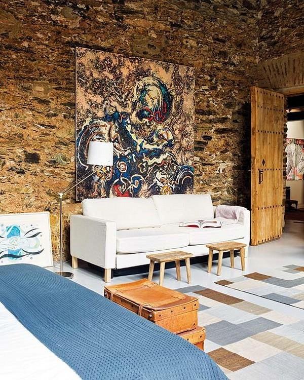 Rekonstrukcija, senos plytos, paveikslas, miegamojo interjeras