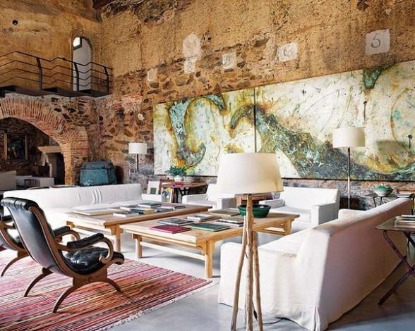 Rekonstrukcija, senos plytos, arka, paveikslas, baldai, svetainės interjeras