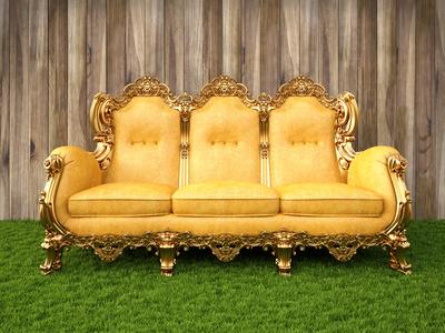 Sofa kambaryje su žolyte ant grindų