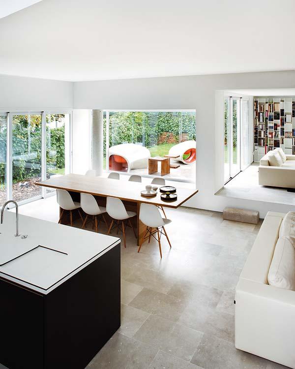 virtuvės, valgomojo erdvės interjeras