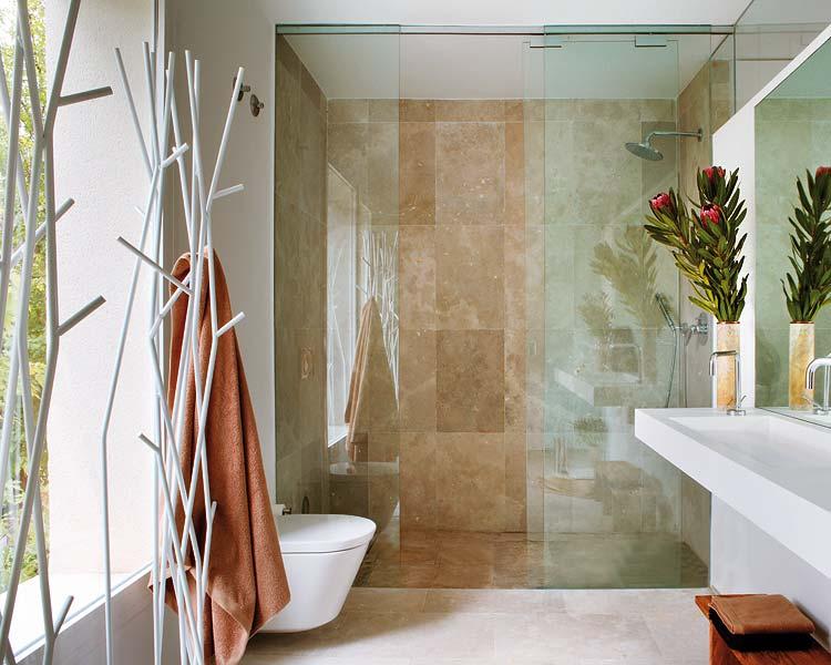 vonios interjeras, stiklo siena