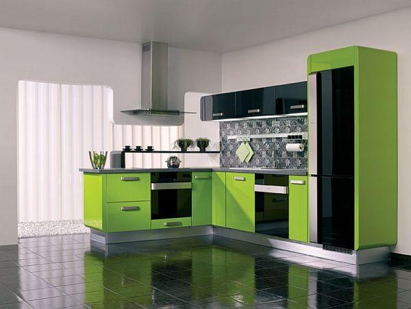 žalios spalvos atspalviai virtuvės interjero dizainui9