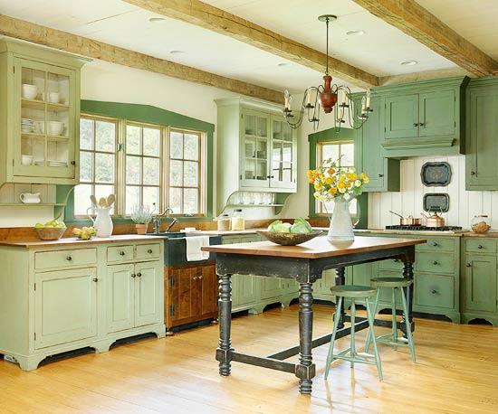 žalios spalvos atspalviai virtuvės interjero dizainui12