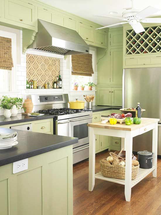 žalios spalvos atspalviai virtuvės interjero dizainui10