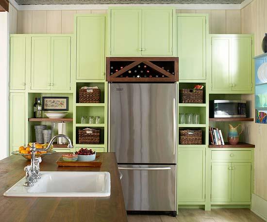 žalios spalvos atspalviai virtuvės interjero dizainui4