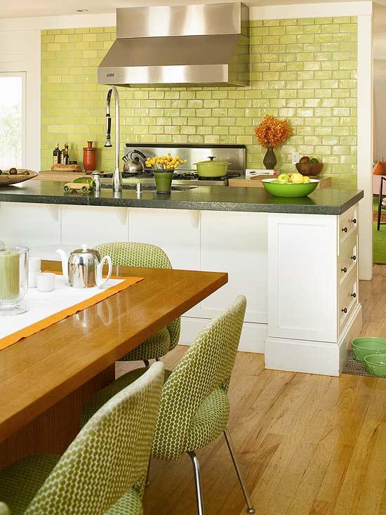 žalios spalvos atspalviai virtuvės interjero dizainui3