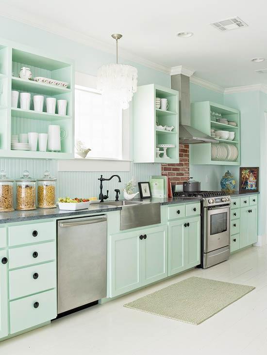 žalios spalvos atspalviai virtuvės interjero dizainui8