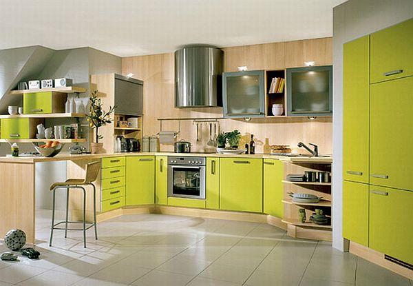 žalios spalvos atspalviai virtuvės interjero dizainui