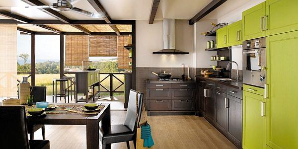 žalios spalvos atspalviai virtuvės interjero dizainui1