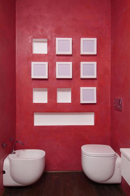 raudona spalva wc interjere