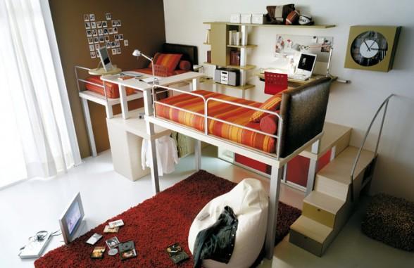 išradingas erdvės išnaudojimas vaiko ar paauglio kambaryje