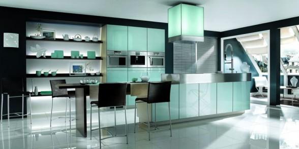 virtuvės dizainas, juoda balta nuotrauka, žalsvai melsva