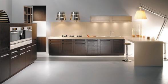 virtuvės dizainas, juoda balta nuotrauka, ruda spalva