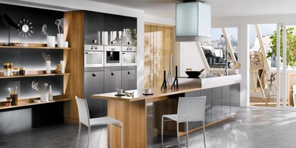 virtuvės dizainas, juoda balta nuotrauka, melsva , ruda spalvos