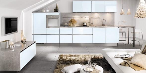 virtuvės dizainas, juoda balta nuotrauka, ciano mėlyna, ruda