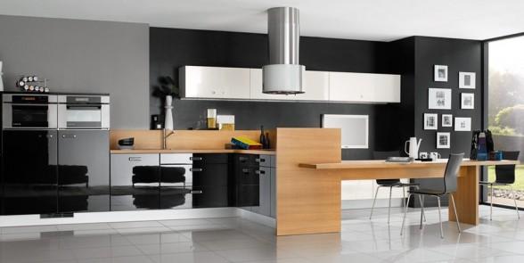virtuvės dizainas, juoda balta nuotrauka, šviesiai ruda